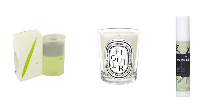 Definitely time to move on: Prescriptives' Calyx Perfume, Diptyque's Fig Candle, Korres' Fig Body MIst