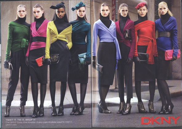 I can't figure out if I love or hate this ad. It is SO American, and SO DKNY. It's the old concept of one basic piece in every colour in the rainbow. Is this good bad, or bad bad?