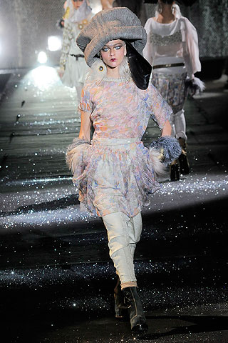 john galliano dresses 2010. this pale, printed dress.