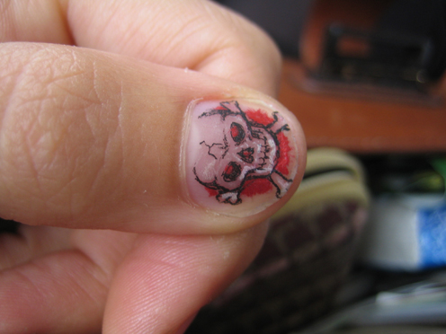 This was one of my nail tattoos, but I had a second one that was much
