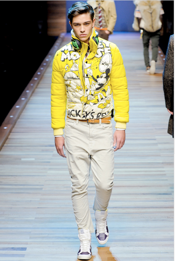 D&G, menswear, autumn winter 2011, fall 2011, menswear catwalks, fashion shows, Mickey Mouse, Coca Cola, t-shirts