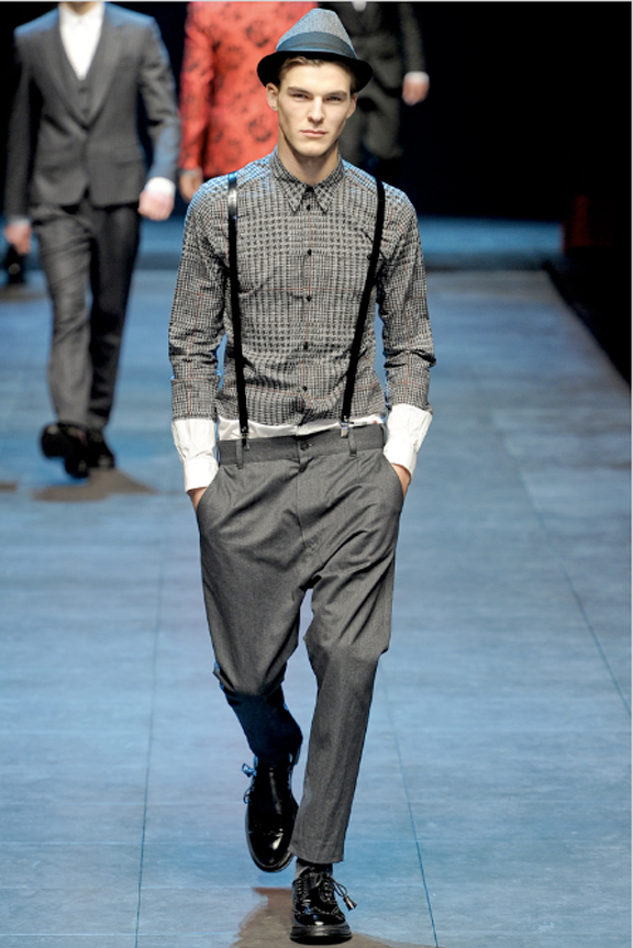 Dolce & Gabbana, menswear, Dolce & Gabbana menswear, autumn winter 2011, fall 2011, menswear catwalks, fashion shows, indie rock, indie style, trilby hats