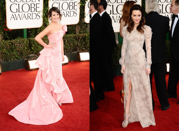 Golden Globes, red carpet, celebrity fashion, Lea Michele, Oscar de la Renta, Leighton Meester, Burberry