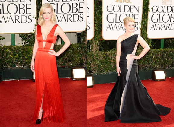Golden Globes, red carpet, celebrity fashion, January Jones, Kelly Osbourne, Versace, Zac Posen