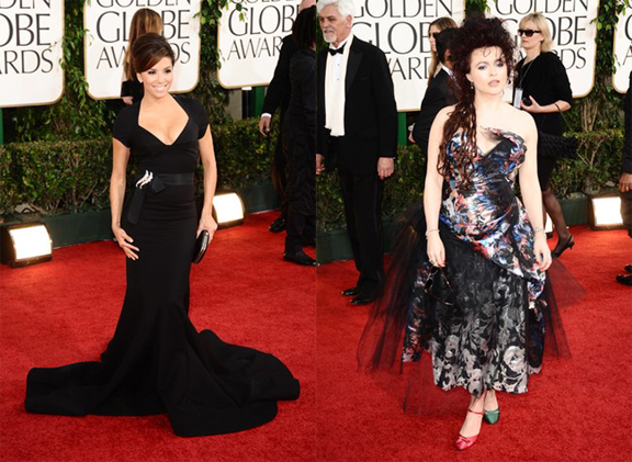 Golden Globes, red carpet, celebrity fashion, Eva Longoria, Zac Posen, Helena Bonham Carter, Vivienne Westwood