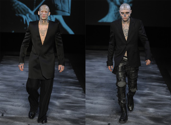Thierry Mugler, Nicola Formichetti, Lady Gaga, menswear, autumn winter 2011, fall 2011, menswear catwalks, fashion shows, tattoos