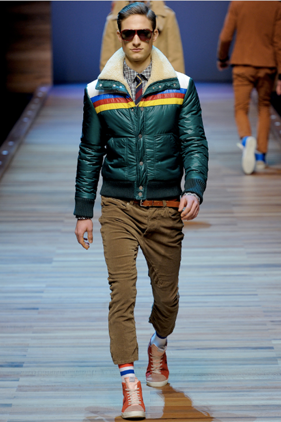 D&G, menswear, autumn winter 2011, fall 2011, menswear catwalks, fashion shows, retro, ski jackets, vintage