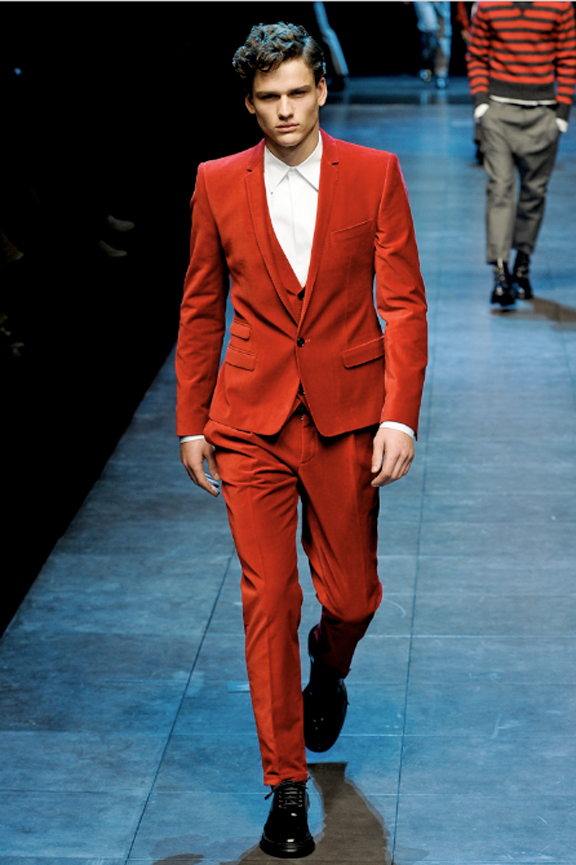 Dolce & Gabbana, menswear, Dolce & Gabbana menswear, autumn winter 2011, fall 2011, menswear catwalks, fashion shows, red suit