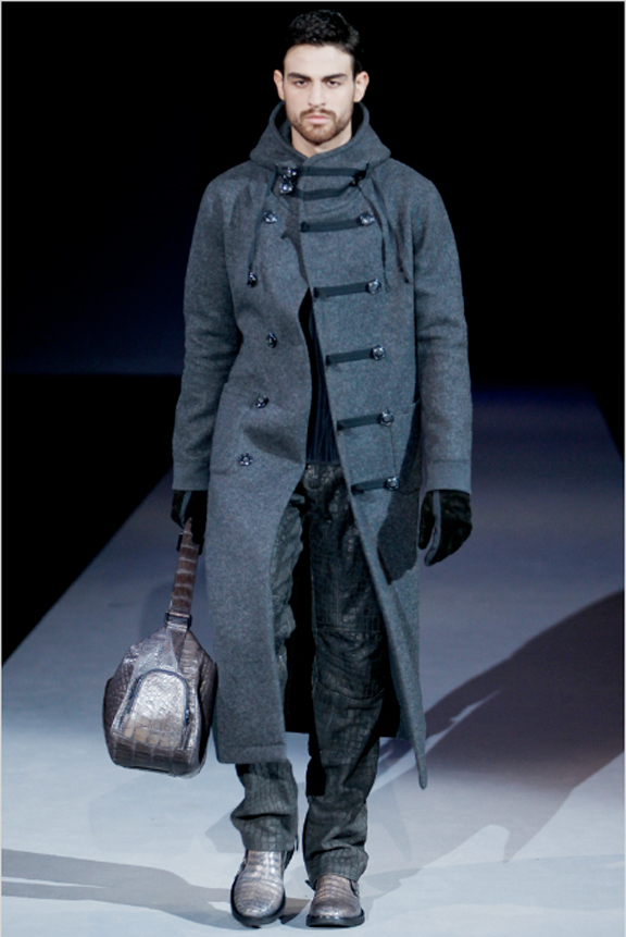 Giorgio Armani, menswear, autumn winter 2011, fall 2011, menswear catwalks, fashion shows, men's suits, duffle coats