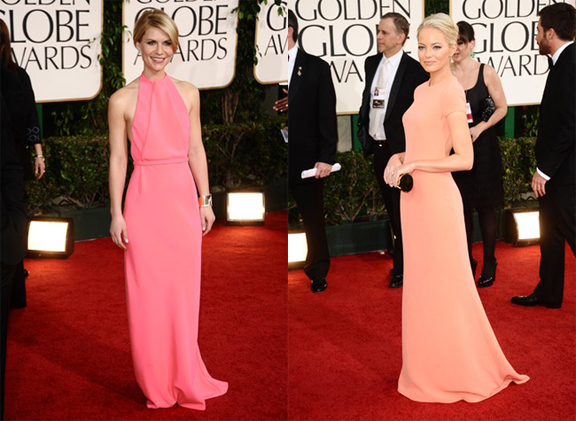 Golden Globes, red carpet, celebrity fashion, Claire Danes, Emma Stone, Calvin Klein Collection