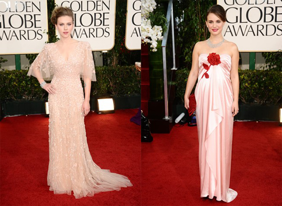 Golden Globes, red carpet, celebrity fashion, Scarlett Johansson, Elie Saab, Natalie Portman, Viktor & Rolf