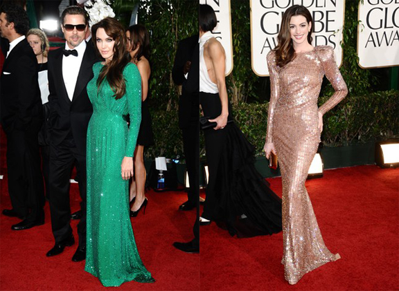 Angelina Jolie, Brad Pitt, Golden Globes, red carpet, celebrity fashion, Versace, Anne Hathaway, Armani Privé