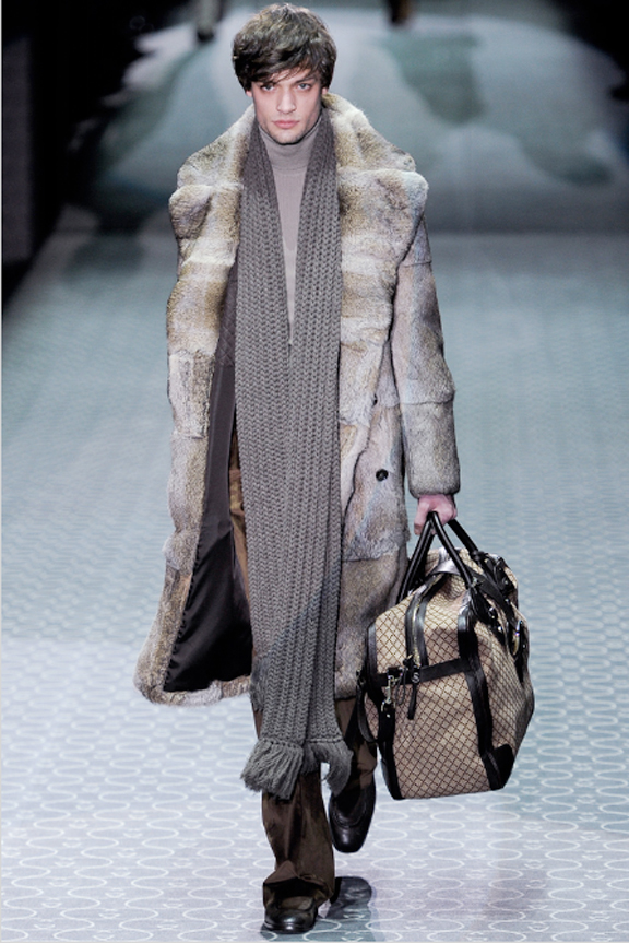Gucci, menswear, autumn winter 2011, fall 2011, menswear catwalks, fashion shows, fur coat