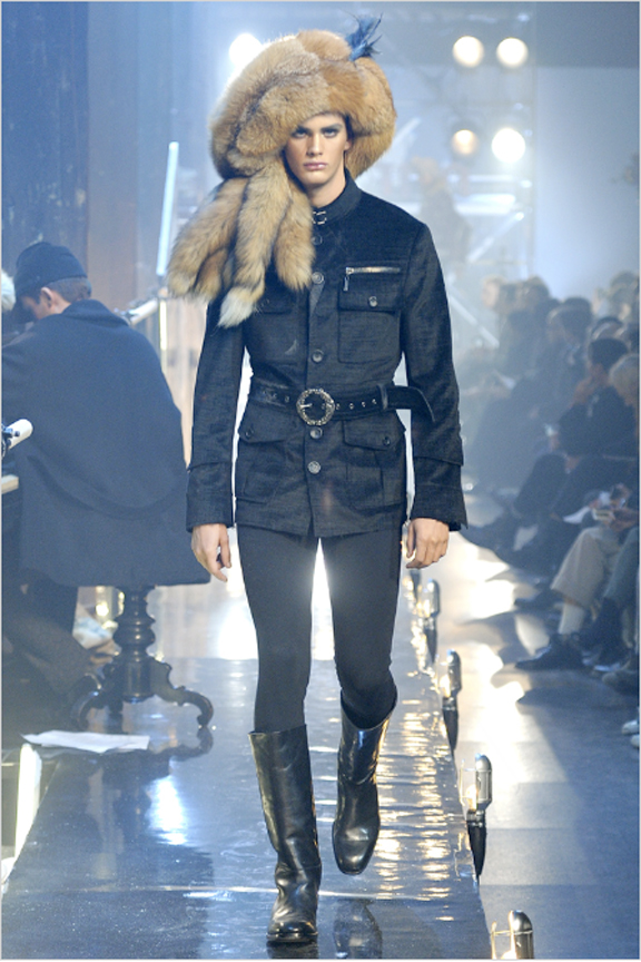 John Galliano, menswear, autumn winter 2011, fall 2011, menswear catwalks, fashion shows, fur hat