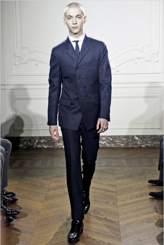 Yves Saint Laurent, menswear, autumn winter 2011, fall 2011, menswear catwalks, fashion shows, leather, mens suits, Stefano Pilati
