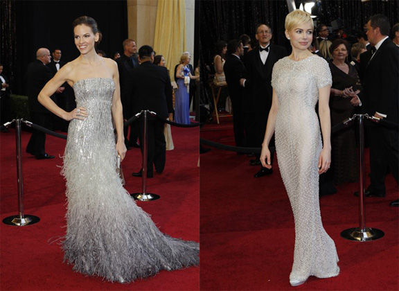Academy Awards, Oscars, red carpet, Chanel, haute couture, Michelle Williams, Gucci, Hilary Swank