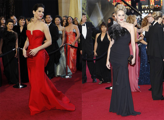 Academy Awards, Oscars, red carpet, Sandra Bullock, Sharon Stone, Christian Dior