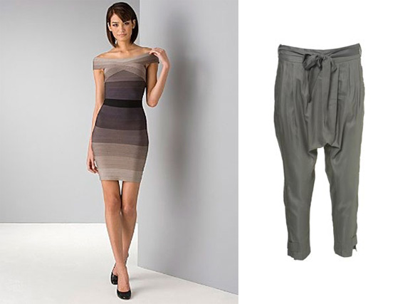 bandage dress, Victoria Beckham, harem pants, drop crotch pants, Herve Leger, Max Azria, BCBG