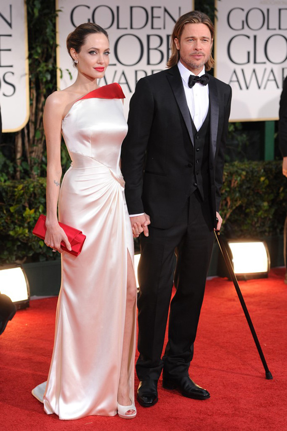 red carpet fashion, Golden Globes, celebrities, Angelina Jolie, Versace