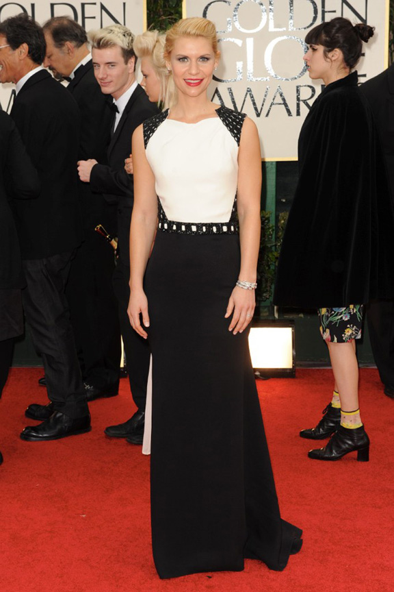red carpet fashion, Golden Globes, celebrities, Claire Danes, J Mendel