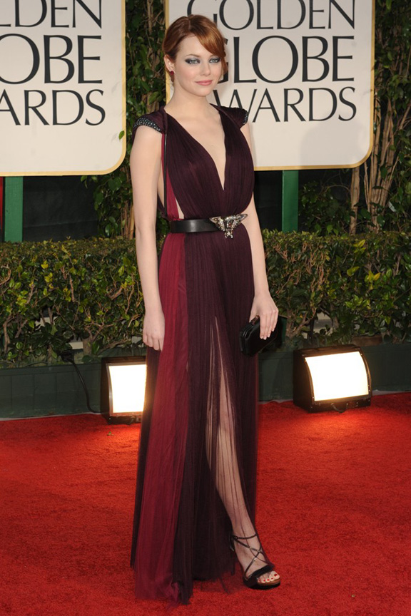 red carpet fashion, Golden Globes, celebrities, Emma Stone, Lanvin