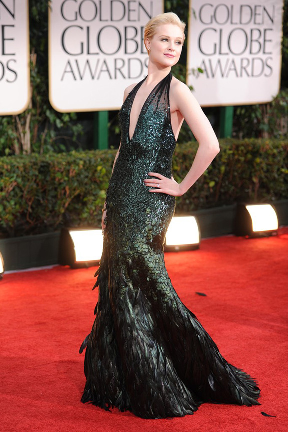 red carpet fashion, Golden Globes, celebrities, Evan Rachel Wood, Gucci
