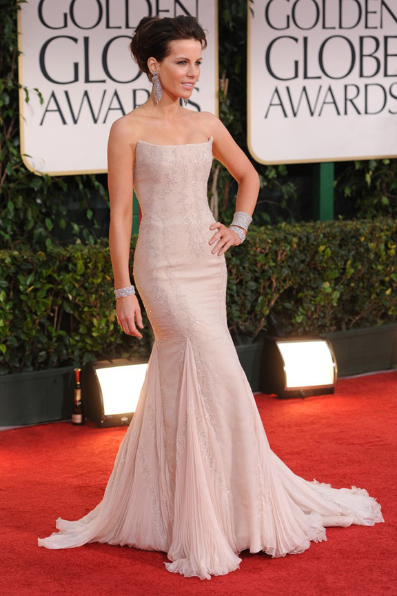 red carpet fashion, Golden Globes, celebrities, Kate Beckinsale, Roberto Cavalli