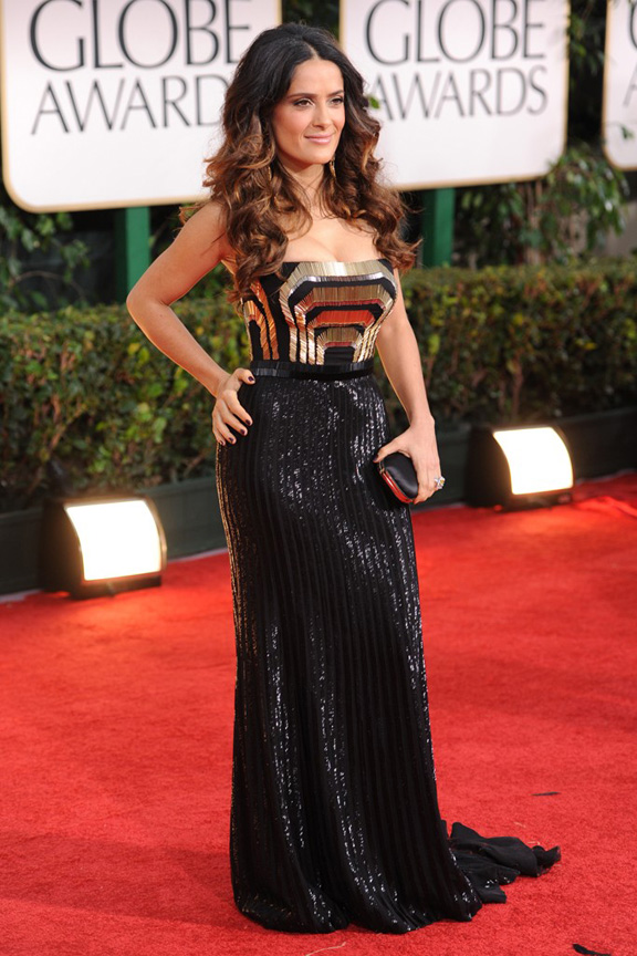 red carpet fashion, Golden Globes, celebrities, Salma Hayek, Gucci