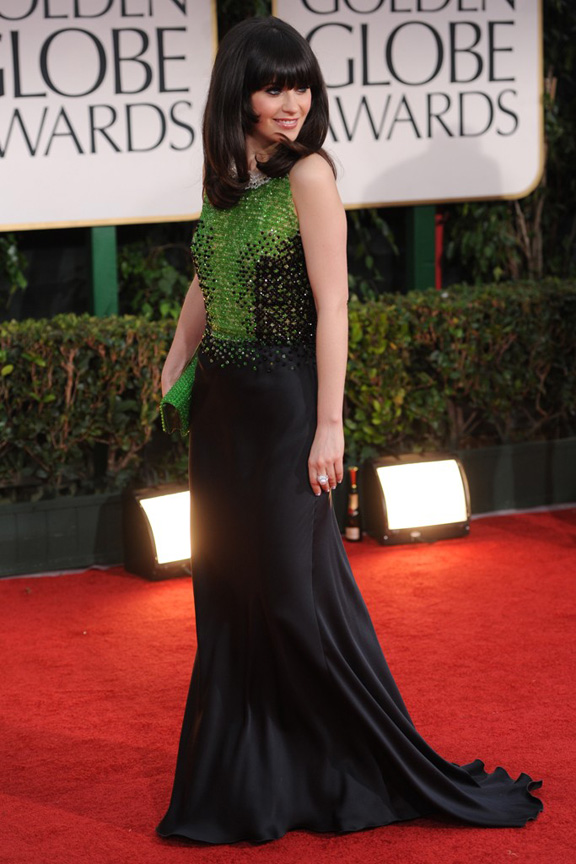red carpet fashion, Golden Globes, celebrities, Zooey Deschanel, Prada
