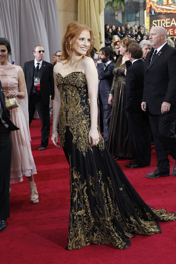 academy awards, oscars, red carpet, celebrities, jessica chastain, alexander mcqueen