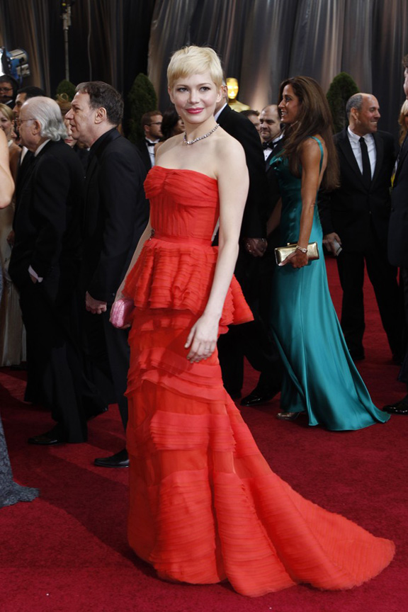 academy awards, oscars, red carpet, celebrities, michelle williams, louis vuitton
