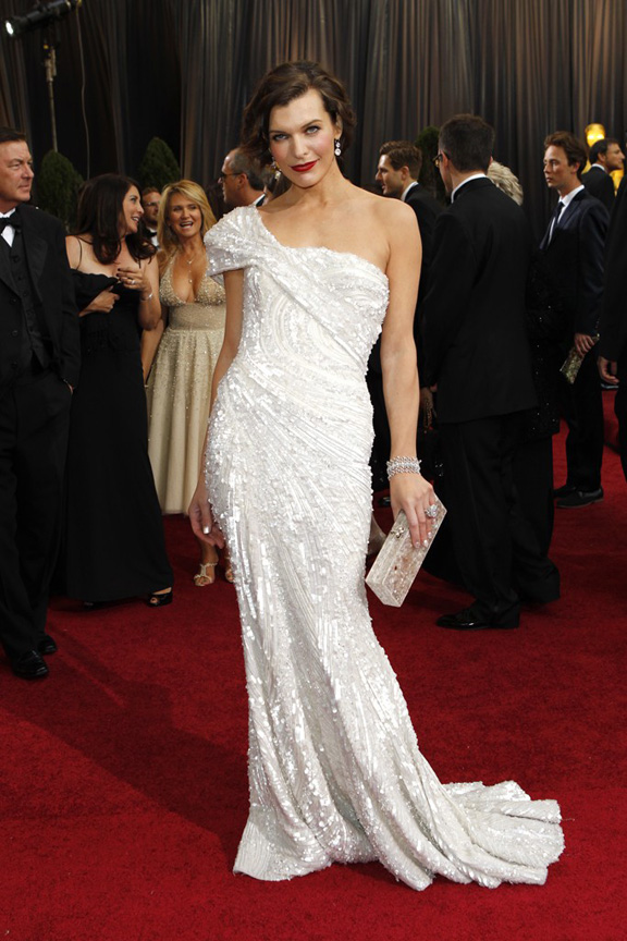 academy awards, oscars, red carpet, celebrities, milla jovovich, elie saab