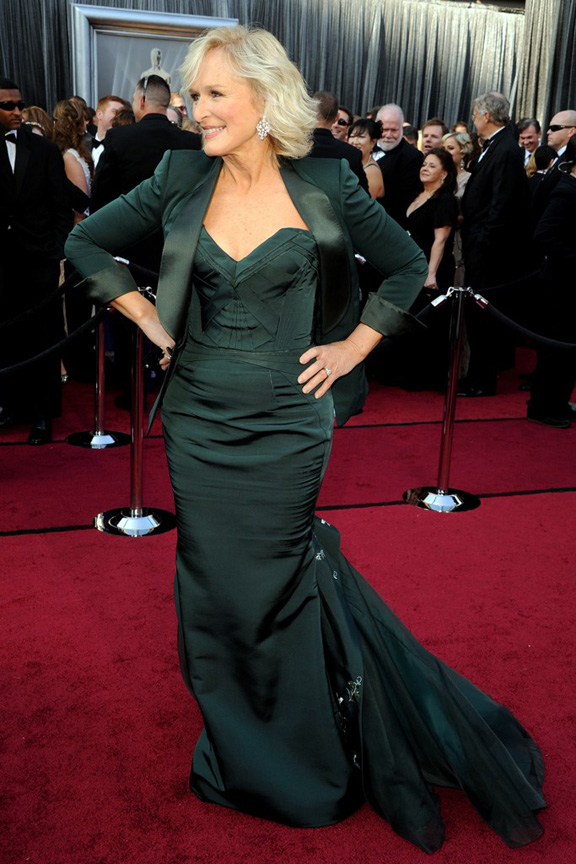 academy awards, oscars, red carpet, celebrities, glenn close, zac posen
