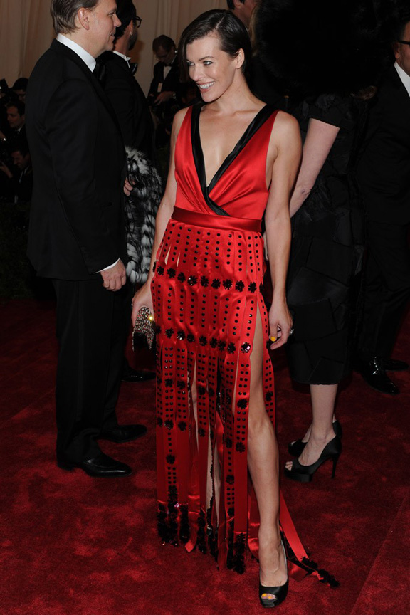 Met ball, fashion, celebrities, red carpet, evening wear, milla jovovich