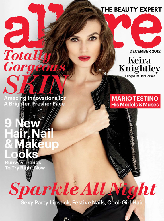 allure, magazine covers, fashion photography, celebrities, kiera knightley, nipple