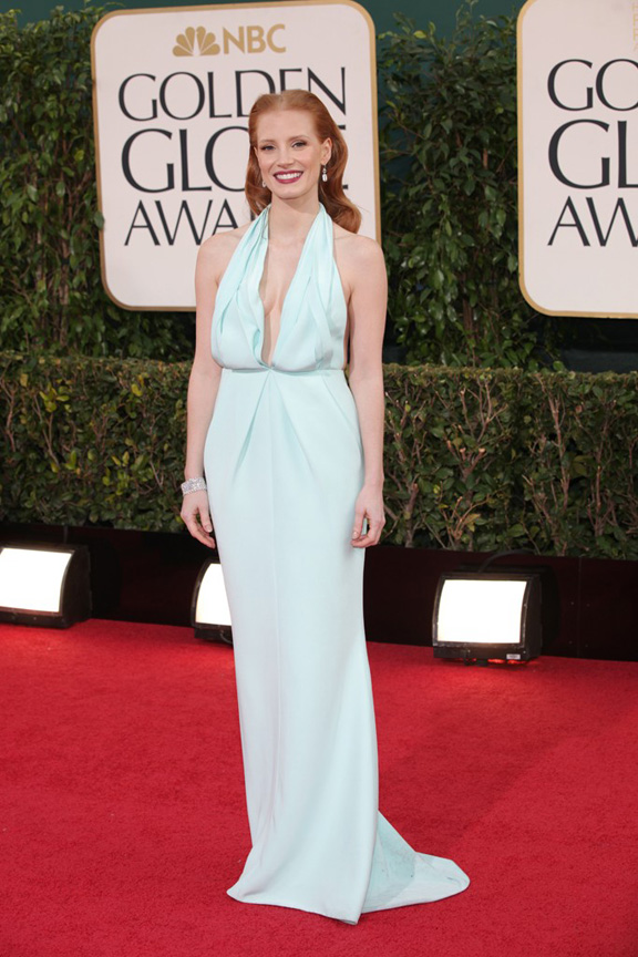 Golden Globes, celebrities, red carpet fashion, jessica chastain, calvin klein