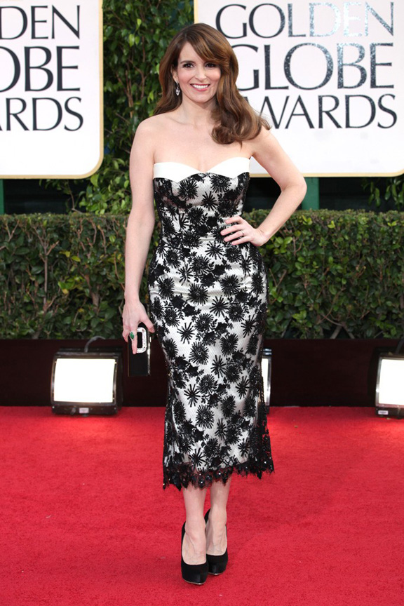 Golden Globes, celebrities, red carpet fashion, tina fey, L'Wren Scott