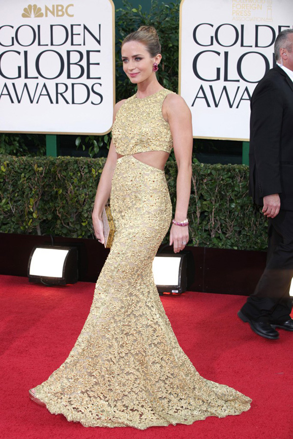 Golden Globes, celebrities, red carpet fashion, emily blunt, michael kors