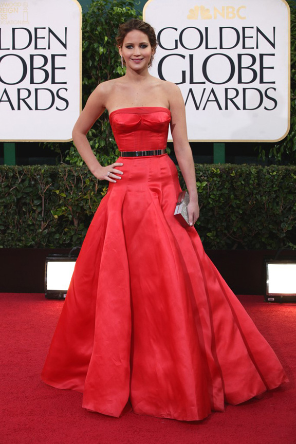 Golden Globes, celebrities, red carpet fashion, jennifer lawrence, christian dior couture