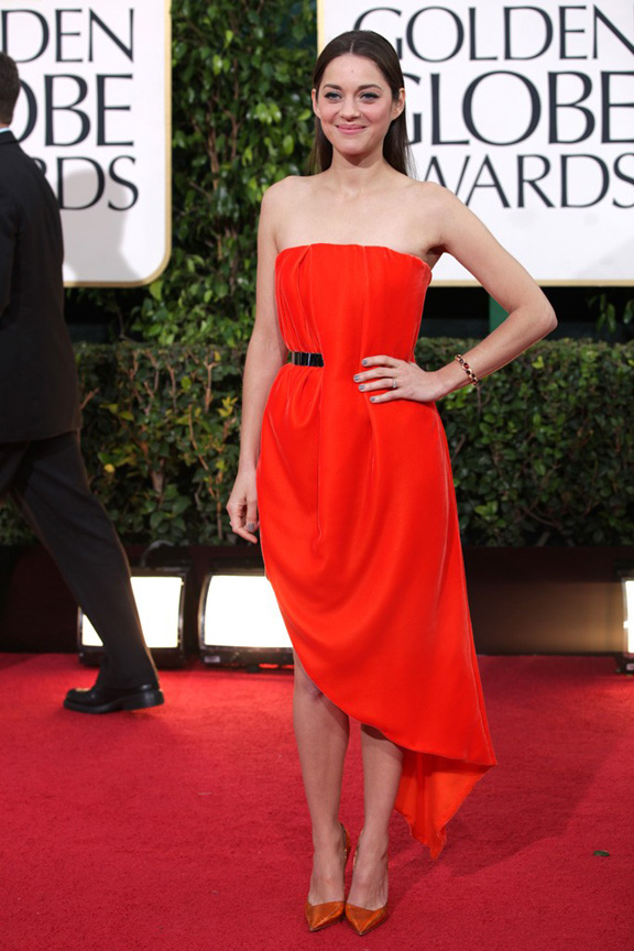 Golden Globes, celebrities, red carpet fashion, marion cottilard, christian dior couture