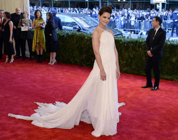 met gala, ball, red carpet, celebrities, evening wear, katie holmes, calvin klein