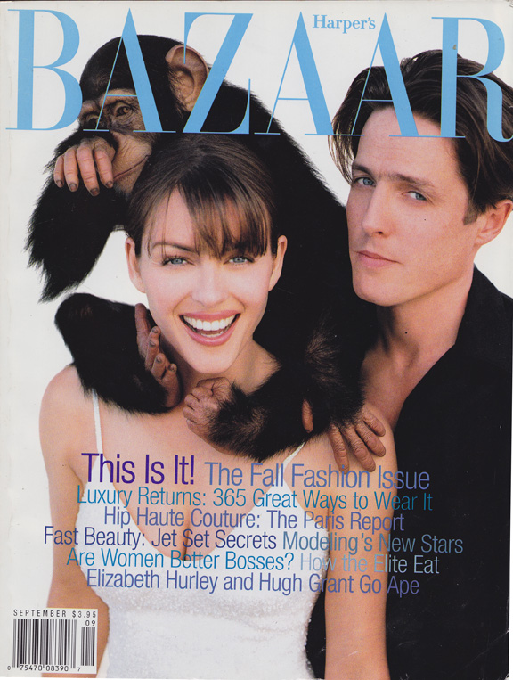 Liz Tilberis, Harper's Bazaar, magazine covers, editorial shoots, fashion photography, glossies, magazines, hugh grant, elizabeth hurley