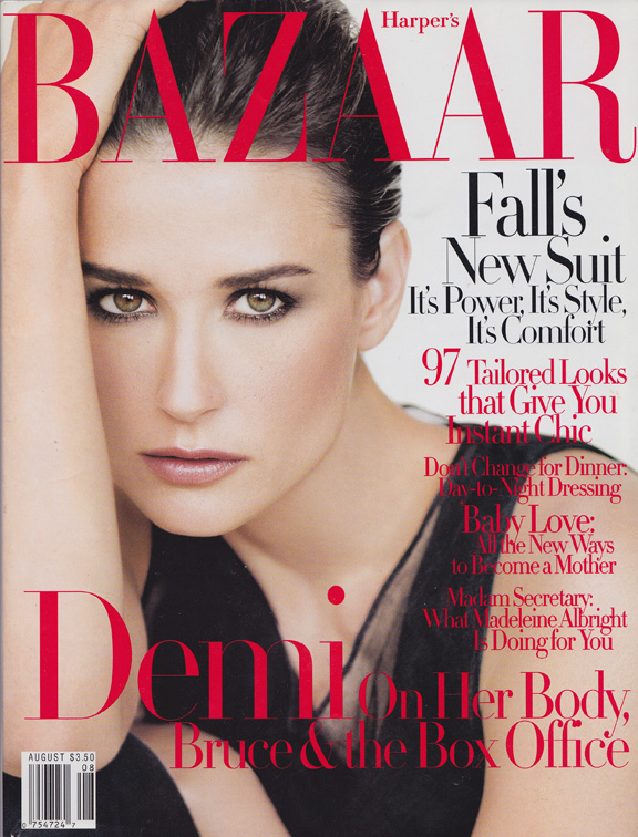 Liz Tilberis, Harper's Bazaar, magazine covers, editorial shoots, fashion photography, glossies, magazines, demi moore