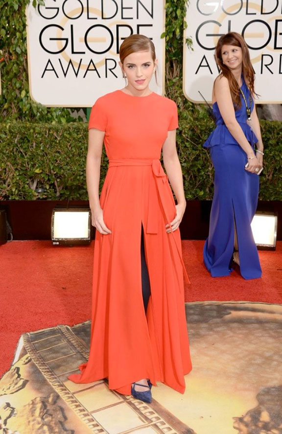 golden globes, red carpet fashion, dresses, celebrity fashion, emma watson