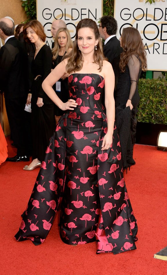 golden globes, red carpet fashion, dresses, celebrity fashion, tina fey