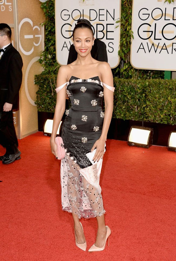 golden globes, red carpet fashion, dresses, celebrity fashion, zoe saldana