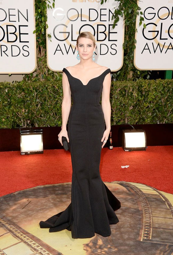 golden globes, red carpet fashion, dresses, celebrity fashion, emma roberts, lanvin