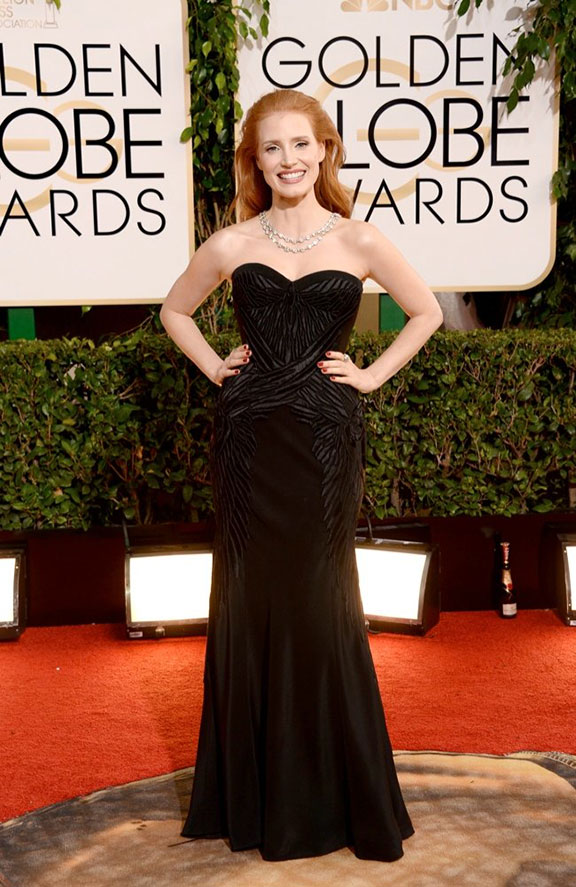 golden globes, red carpet fashion, dresses, celebrity fashion, givenchy, jessica chastain
