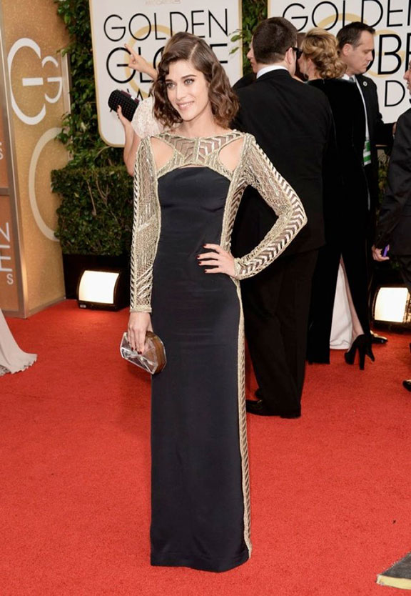golden globes, red carpet fashion, dresses, celebrity fashion, lizzy caplan