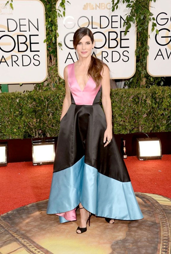 golden globes, red carpet fashion, dresses, celebrity fashion, sandra bullock, prabal gurung